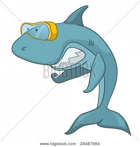 Cartoon Character Shark Isolated on White Background. Vector.