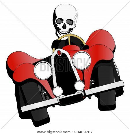skeleton driving the car