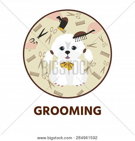 poster of Cute Dog  At Groomer Salon. Pet Grooming Concept.  Vector Illustration For Pet Hair Salon, Styling A