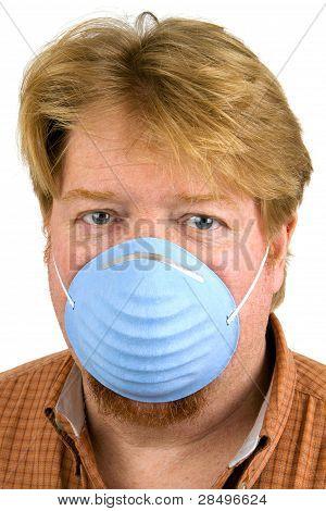 Man Wearing Dust Mask