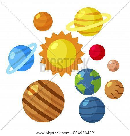 Flat Solar System Sun Mars