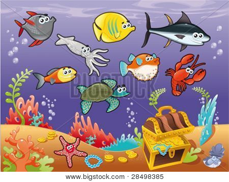 Family of funny fish under the sea. Vector illustration.