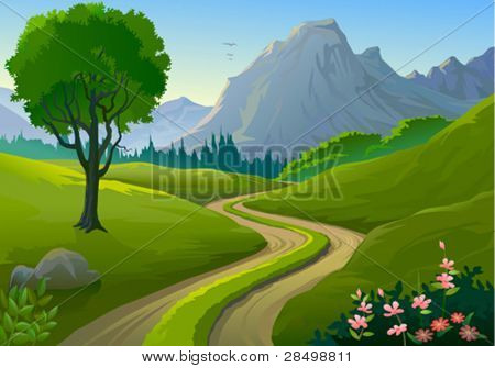 Country side Rocky Hills and Lonely Pathway