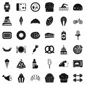 Calories Icons Set. Simple Style Of 36 Calories Icons For Web Isolated On White Background poster