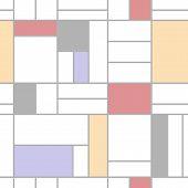 Abstract Geometric Colorful Seamless Pattern. Mondrian Style. Vector Illustration. Mosaic Piet Mondr poster