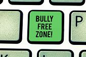 Handwriting Text Bully Free Zone. Concept Meaning Be Respectful To Other Bullying Is Not Allowed Her poster