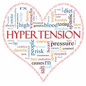 picture of hypertensive  - A heart shaped word cloud concept around the word Hypertension including words such as reading control doctor rx and more - JPG