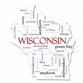 stock photo of winnebago  - A Wisconsin map word cloud with great terms such as Green Bay football Milwaukee Madison baseball musky cheese and more - JPG