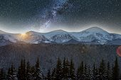 Mountain Winter Night Panorama, Christmas Landscape. Steep Long Ridge Mountain Peaks Covered With Sn poster