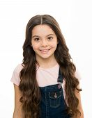 Natural Beauty. Girls Usually Let Their Hair Grow Long. Healthy And Shiny Hair. Kid Cute Child With  poster