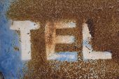 Letters On Rusty Metal, Letter T, Letter E, Letter L, Word On Over Blue Texture Of Rusty Metal, Rust poster