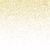 Gold Sparkles Glitter Dust Metallic Confetti Vector Background. Stylish Golden Sparkling Background. poster