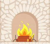 Stone Fireplace With Burning Firewoods, Granite Bonfire Hearth Vector Closeup. Luxury Bonfire, Flame poster