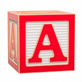 Abc Alphabet Wooden Block With A Letter. 3d Rendering Isolated On White Background poster
