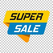 Super Sale Banner Badge Icon. Vector Illustration On Isolated Transparent Background. Business Conce poster