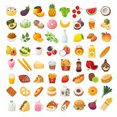 Set Of Colorful Food Icons. Bakery, Dairy Food, Fruit And Vegetables. Desserts Fast Food And Pasta I poster