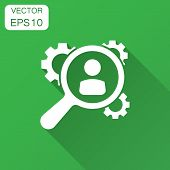 Human Resources, Recruitment, Hr Management Vector Icon In Flat Style. Business Agreement Illustrati poster