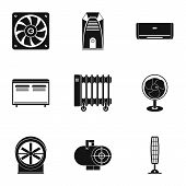 Heating Cooling Air Icon Set. Simple Style Set Of 9 Heating Cooling Air Icons For Web Isolated On Wh poster