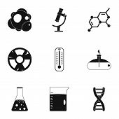 Chemical Experience Icon Set. Simple Style Set Of 9 Chemical Experience Icons For Web Isolated On Wh poster