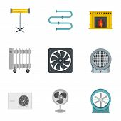 Heating Cooling Air Icon Set. Flat Style Set Of 9 Heating Cooling Air Icons For Web Isolated On Whit poster