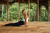 Woman Practicing Yoga In Tropical Open Yoga Studio Place poster