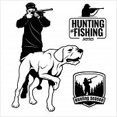 Hunter With Dog Aiming With His Rifle. Outdoor Hunting Scene. Pointer Looking On Prey. Man Hunting I poster