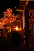 pic of christmas lights  - a covered walkway is lit with christmas lights - JPG
