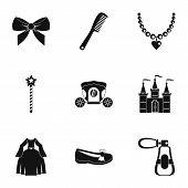 Princess Fairy Tail Icon Set. Simple Style Set Of 9 Princess Fairy Tail Icons For Web Isolated On Wh poster