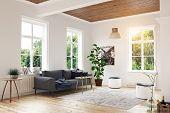 modern scandinavian living room design. 3d concept rendering poster