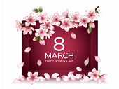 8 March Happy Womens Day Vector Card. Japanese Cherry Blossom Pink Sakura Flowers Frame. Delicate Gr poster