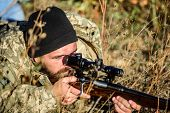 Hunting Skills And Weapon Equipment. How Turn Hunting Into Hobby. Bearded Man Hunter. Army Forces. C poster