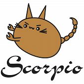Bunny Zodiac Sign Scorpio In Cartoon Style. Vector Illustration On White Background. With Signed Zod poster