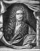 Isaac Newton, vintage engraved illustration. From the Universe and Humanity, 1910. poster