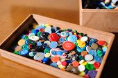 Sewing Buttons, Plastic Buttons, Colorful Buttons Close Up poster