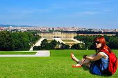 pic of schoenbrunn  - Young woman tourist with backpack - JPG