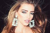 Glamour Jewelry Of Luxury Big Earrings. Glamour Style Of Sexy Woman With Big Gem Stone Earrings poster
