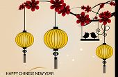 Fairy-lights. Big traditional chinese lanterns will bring good luck and peace to prayer during Chine
