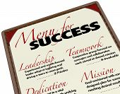 pic of leadership  - A Menu for Success shows what is offered to you in achieving your goals  - JPG