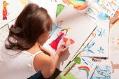 Little Girl Draws - Among Her Drawings poster