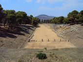 image of epidavros  - The ancient stadium of Epidavros in Greece - JPG