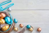Beautiful Happy Easter Holiday Greeting Banner With Easter Nest With Colored Eggs And Decorated With poster