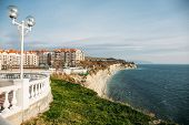 Beautiful Cityscape With Modern Buildings On Cliff Coastline, Blue Sea And Rocks, Gelendzhik, Russia poster