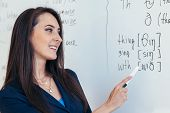 Learn English Language. Teacher Near Whiteboard Explains The Rules. poster