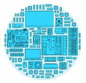 Computer. Computer Components In Blue Color. Icons Of Computer Components In Blue Color. Design Of C poster