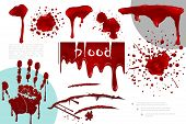 Realistic Blood Splatters And Splashes Collection With Different Bloody Blots Drips And Handprint Ve poster