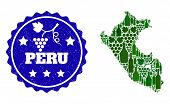 Vector Collage Of Wine Map Of Peru And Grape Grunge Seal. Map Of Peru Collage Created With Bottles A poster