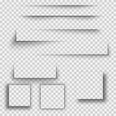 Set Of Transparent Shadow With Soft Edges Isolated. Set Of Square Shadow. Realistic Shadows Set For  poster