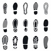 Shoes Footprint Silhouette Black Simple Set. Sneaker Shoes Step, Walking Boot Shoe Steps Imprint And poster