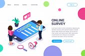 Isometric Online Survey Concept. Vote Or Checklist. Man And Woman From Mobile Devices Are Surveyed O poster