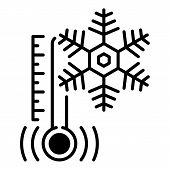 Low Minus Temperature Icon. Outline Low Minus Temperature Vector Icon For Web Design Isolated On Whi poster